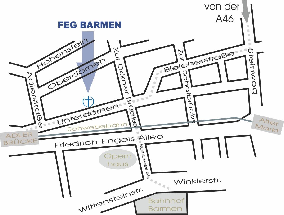 Freie evangelische Gemeinde Wuppertal Barmen - Wegskizze